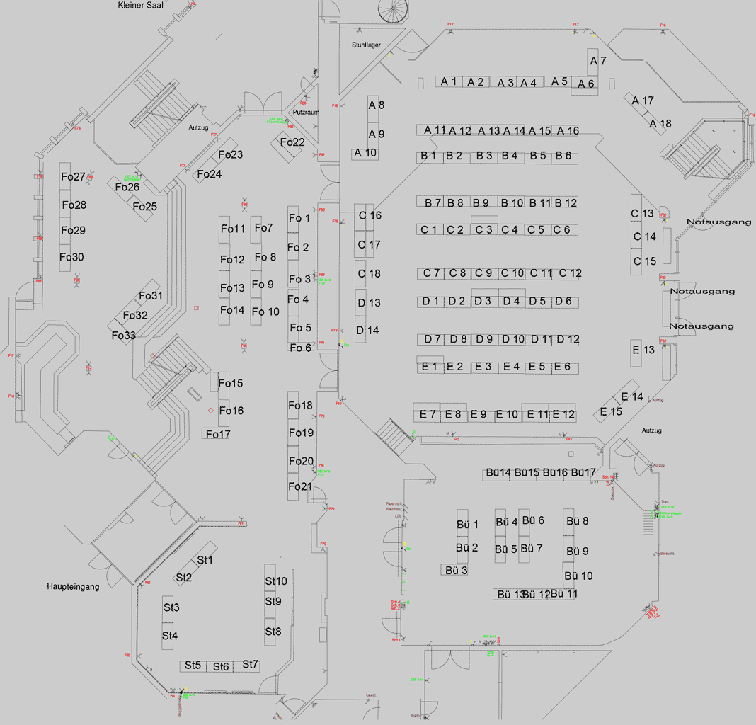 Table Plan for the Fossil Show