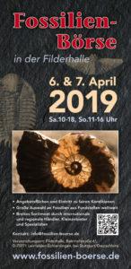 Vorschau des Fosslienbörsen Flyers für die Fossilien Messe 2019.