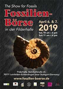 Fossilien-Börse 2019 Plakat der Messe für Fossilien 2019
