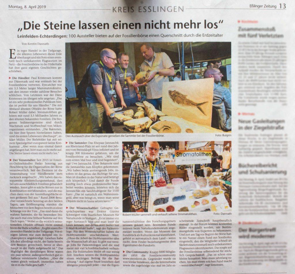 Artikel in der Eßlinger Zeitung vom 8. April 2019 über die Fossilien Börse .
