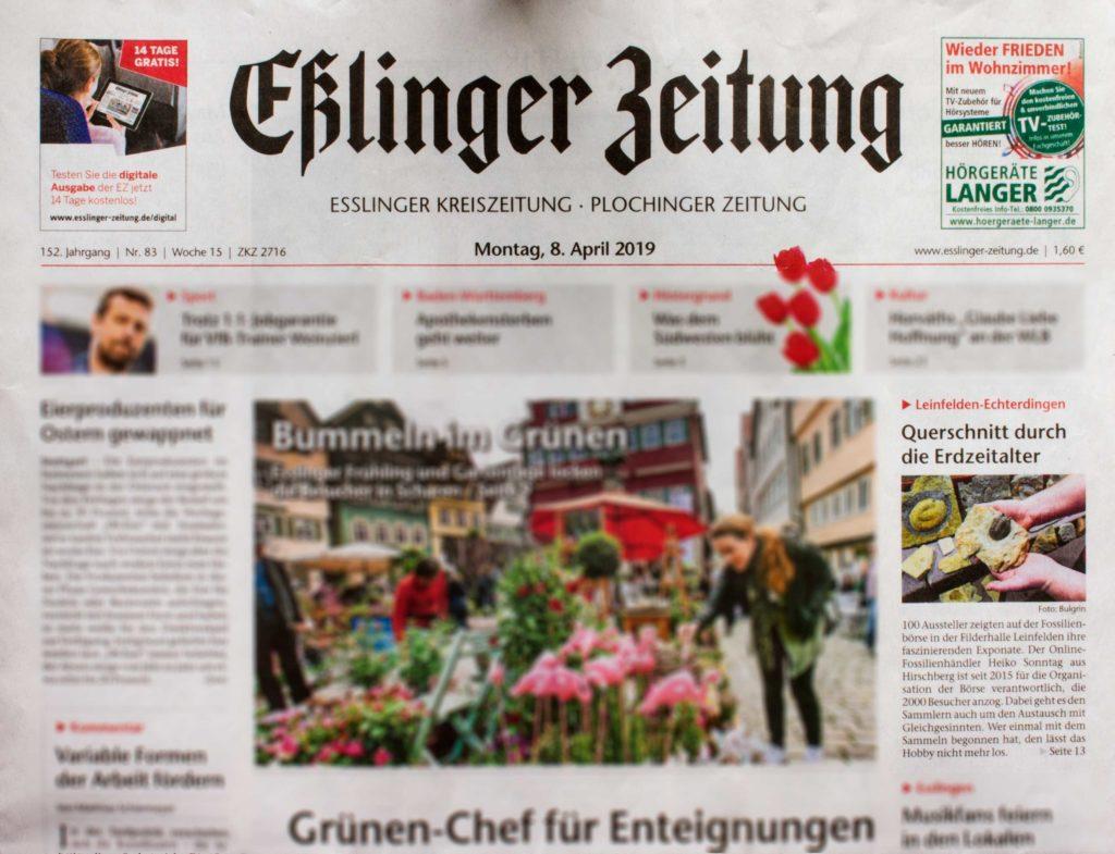Die Eßlinger Zeitung vom 8. April 2019 über die Fossilien Börse .