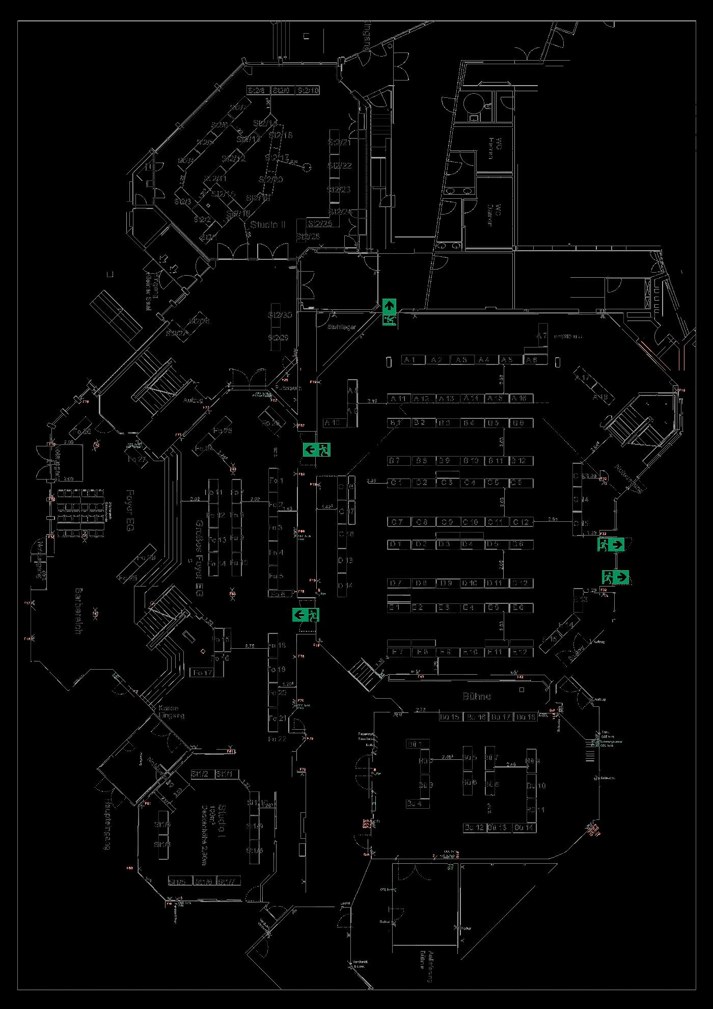 """Tisch-Plan der Messe """"Fossilien Börse"""" in der Filderhalle"""