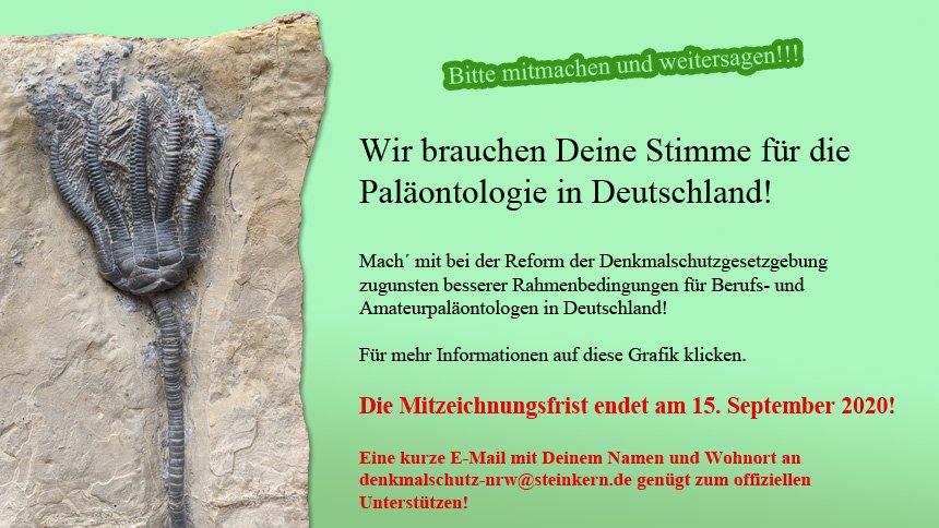 Besuchen Sie Steinkern.de um noch den Vorschlag zur Novellierung der paläontologischen Denkmalschutzgesetzgebung in Nordrhein-Westfalen zeichnen.